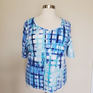 Karen Scott Plus Size 2X XXL Blue White Teal Top